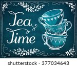 illustration tea time with cups.... | Shutterstock .eps vector #377034643