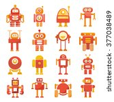 red robot icons set  cute... | Shutterstock .eps vector #377038489