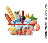 grocery basket full of food... | Shutterstock .eps vector #377041990