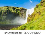 beautiful and famous skogafoss... | Shutterstock . vector #377044300