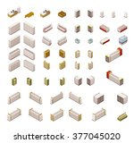 vector isometric icon set or... | Shutterstock .eps vector #377045020