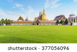 green field and grand palace ... | Shutterstock . vector #377056096