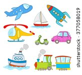 set of cartoon transportation... | Shutterstock .eps vector #377058019