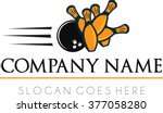 bowling strike shot flat logo... | Shutterstock .eps vector #377058280