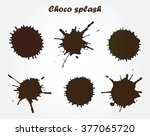 chocolate splashes set.splashes ... | Shutterstock .eps vector #377065720