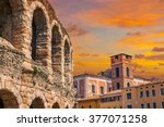 the ruins of the ancient roman... | Shutterstock . vector #377071258