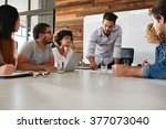 young business team in a... | Shutterstock . vector #377073040
