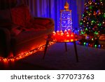 christmas tree in a room   Shutterstock . vector #377073763