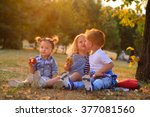 stylish toddlers. boy kissing...   Shutterstock . vector #377081560