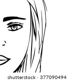 sketch of a woman's face  hand... | Shutterstock .eps vector #377090494