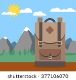 backpack on table with nature... | Shutterstock .eps vector #377106070