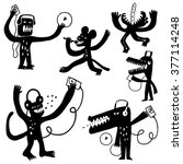 music monsters doodles | Shutterstock .eps vector #377114248