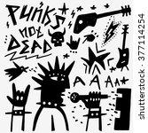 punk musician doodles | Shutterstock .eps vector #377114254