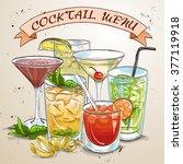 new era drinks coctail menu ... | Shutterstock .eps vector #377119918