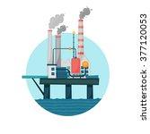 oil extraction sea platform in... | Shutterstock .eps vector #377120053