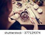 cake making  preparation... | Shutterstock . vector #377129374