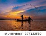 Silhouette Asian Fisherman On...