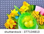 easter decoration with eggs and ... | Shutterstock . vector #377134813