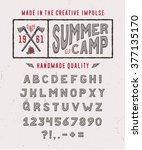 summer camp font crafted retro... | Shutterstock .eps vector #377135170