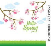 spring blossom and lawn... | Shutterstock .eps vector #377149324