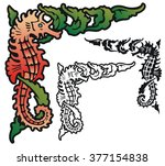 design with a seahorse and... | Shutterstock .eps vector #377154838