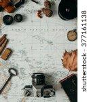 flat lay adventure vintage gear ...   Shutterstock . vector #377161138