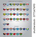 set of round glossy flags of... | Shutterstock .eps vector #377167693