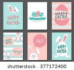 happy easter day. cute bunny... | Shutterstock .eps vector #377172400