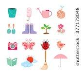 Spring Icons Set  Gardening ...