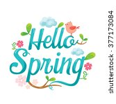 hello spring letter decorating... | Shutterstock .eps vector #377173084