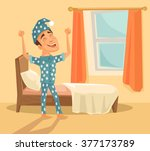 good morning. vector flat... | Shutterstock .eps vector #377173789