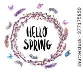 watercolor spring wreath ... | Shutterstock . vector #377175850