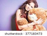 Happy Woman Received A Teddy...