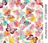 Stock vector pattern seamless pattern with butterflies and roses freehand drawing 377188048