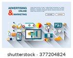 bright flat web banner template ... | Shutterstock .eps vector #377204824