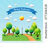 spring landscape background... | Shutterstock .eps vector #377206318