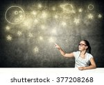 she explores space | Shutterstock . vector #377208268