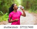 african american woman jogger... | Shutterstock . vector #377217400