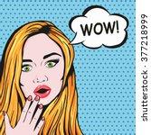 vector pop art redhead woman... | Shutterstock .eps vector #377218999