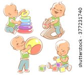 children play with toys. little ... | Shutterstock .eps vector #377231740