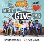 give help donate walfare... | Shutterstock . vector #377252836