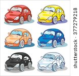 six cartoon cars in different... | Shutterstock .eps vector #377279218
