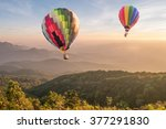 hot air balloon above high... | Shutterstock . vector #377291830