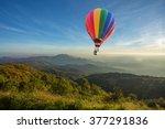 hot air balloon above high...   Shutterstock . vector #377291836