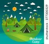 summer landscape. morning...   Shutterstock .eps vector #377300329