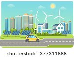 electromobile on highway.... | Shutterstock .eps vector #377311888
