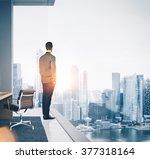 businessman stands in... | Shutterstock . vector #377318164