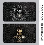 vip textured cards with floral... | Shutterstock .eps vector #377324713