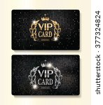 gold and silver vip cards with  ... | Shutterstock .eps vector #377324824