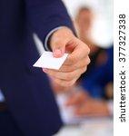 closeup of a business man... | Shutterstock . vector #377327338